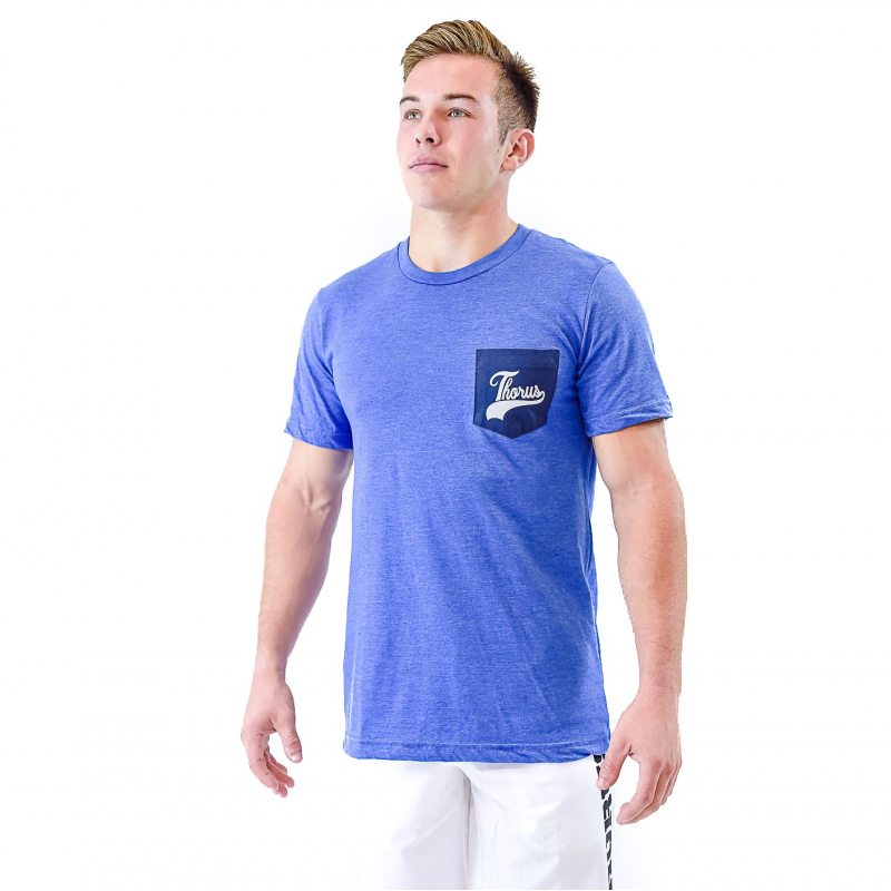 T SHIRT BLUE POCKET MEN