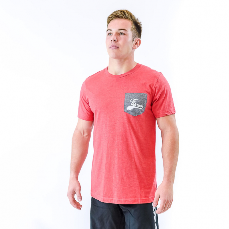 T SHIRT LIGHT RED POCKET MEN