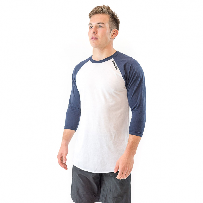 UNISEX WHITE/NAVY BASEBALL TEE