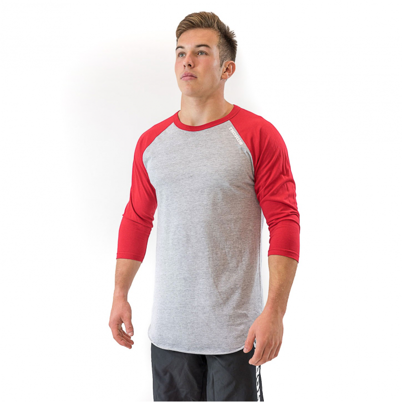 UNISEX GREY/RED HEATHER BASEBALL TEE