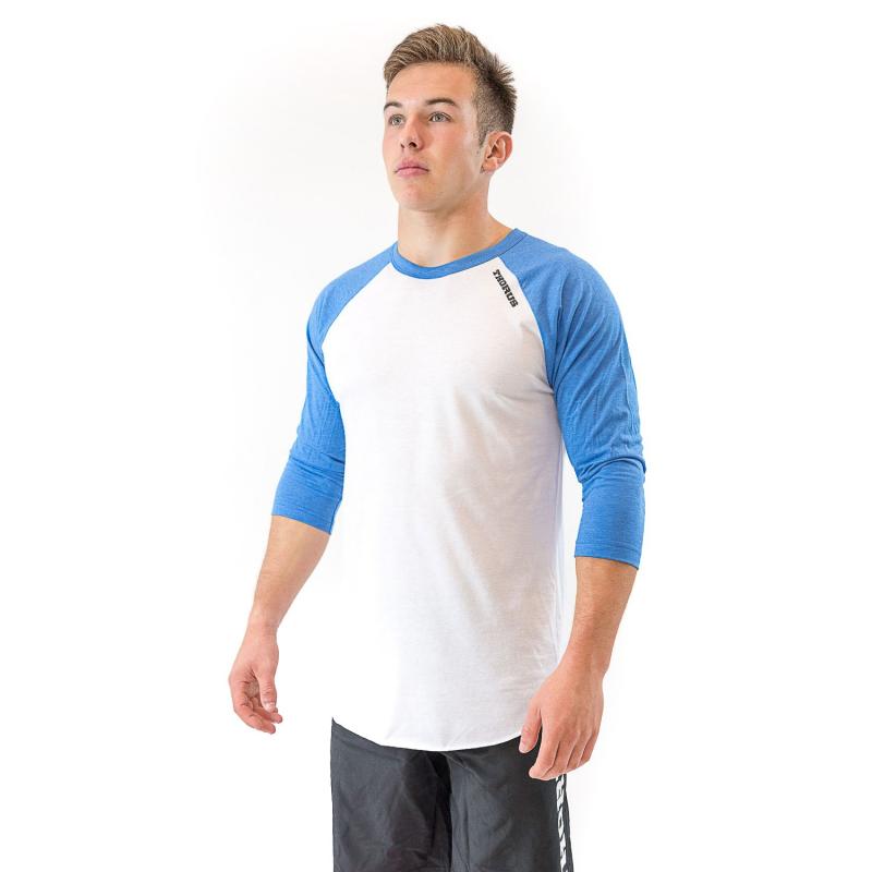 T-SHIRT 3/4 BASEBALL WHITE/LIGHT BLUE UNISEXE