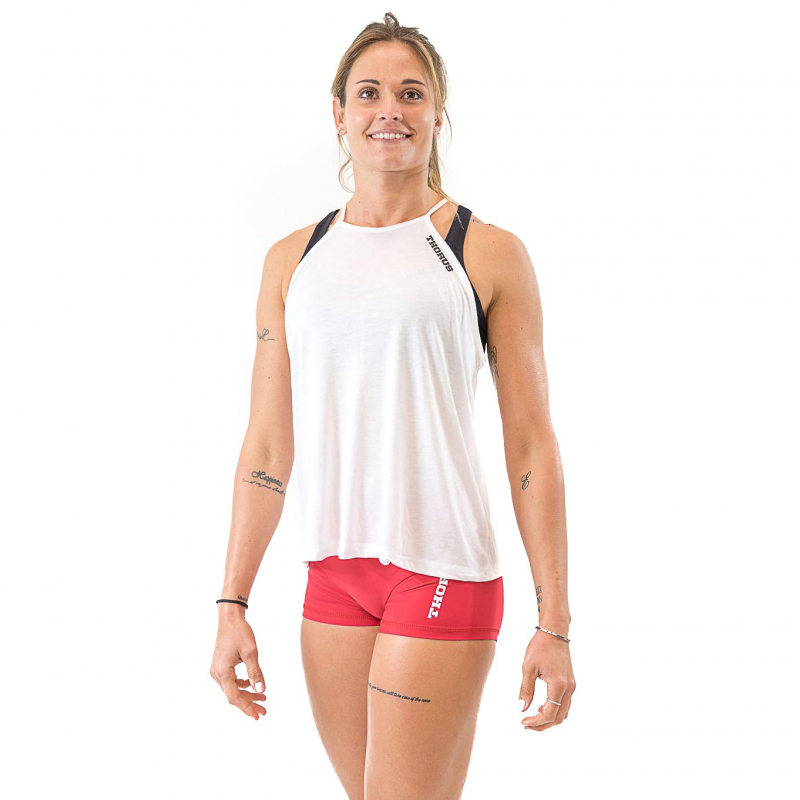 WOMEN'S WHITE HIGHT NECK TANK