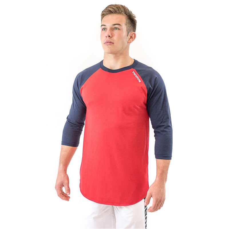 T-SHIRT 3/4 BASEBALL RED/NAVY UNISEXE