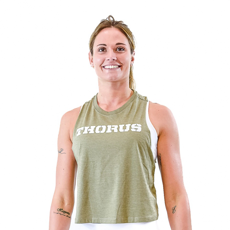 WOMEN'S KHAKI CROP TOP