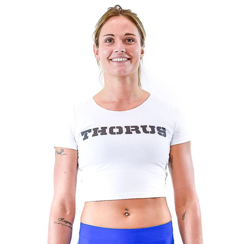 WHITE CROP T-SHIRT OPEN NECK WOMEN