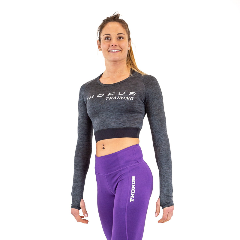 WOMEN'S LONG-SLEEVE DARK GREY CROP TOP