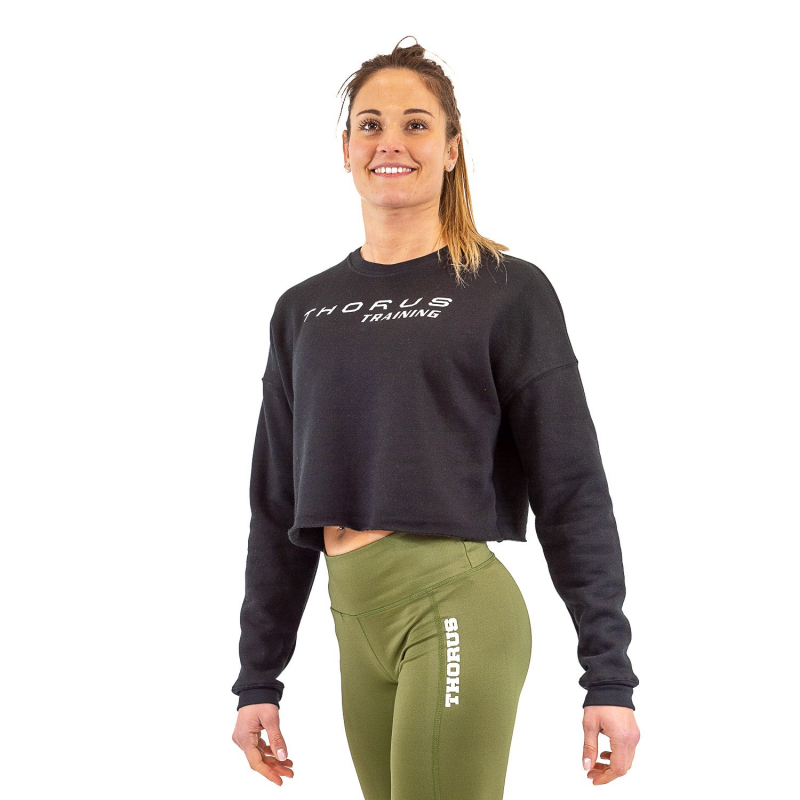 WOMEN'S CROPPED BLACK PULLOVER