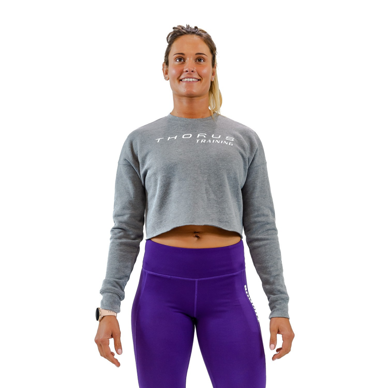 WOMEN'S CROPPED DEEP HEATHER PULLOVER