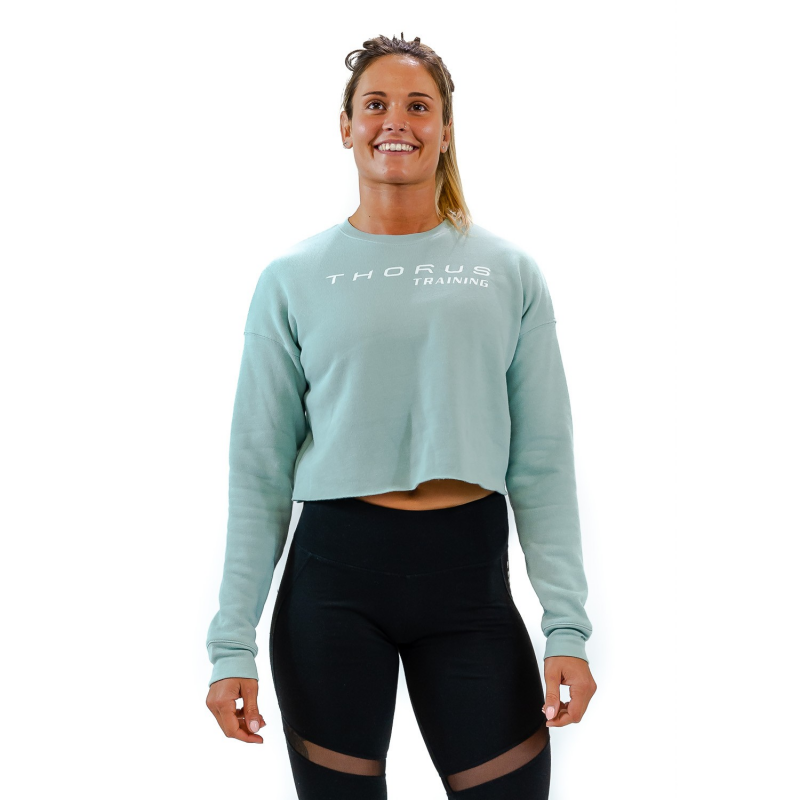 WOMEN'S CROPPED DUSTY BLUE PULLOVER
