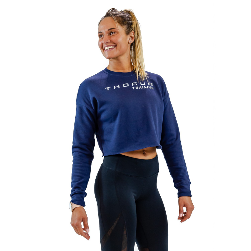 WOMEN'S CROPPED NAVY PULLOVER