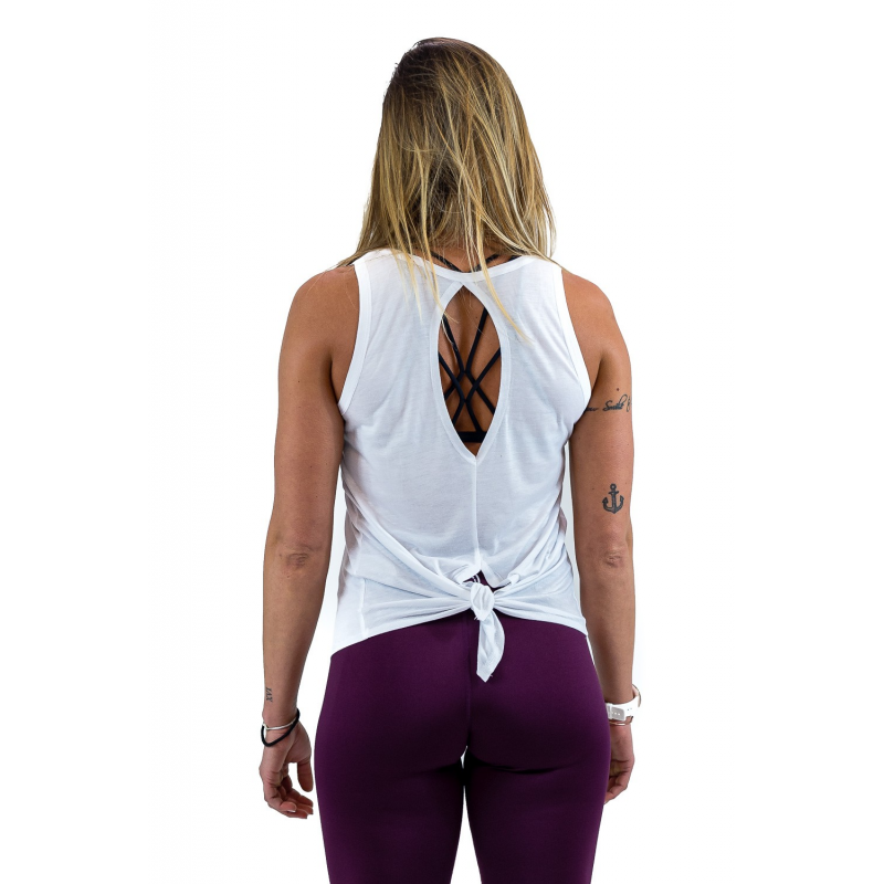 WOMEN'S WHITE TIE-BACK TANK