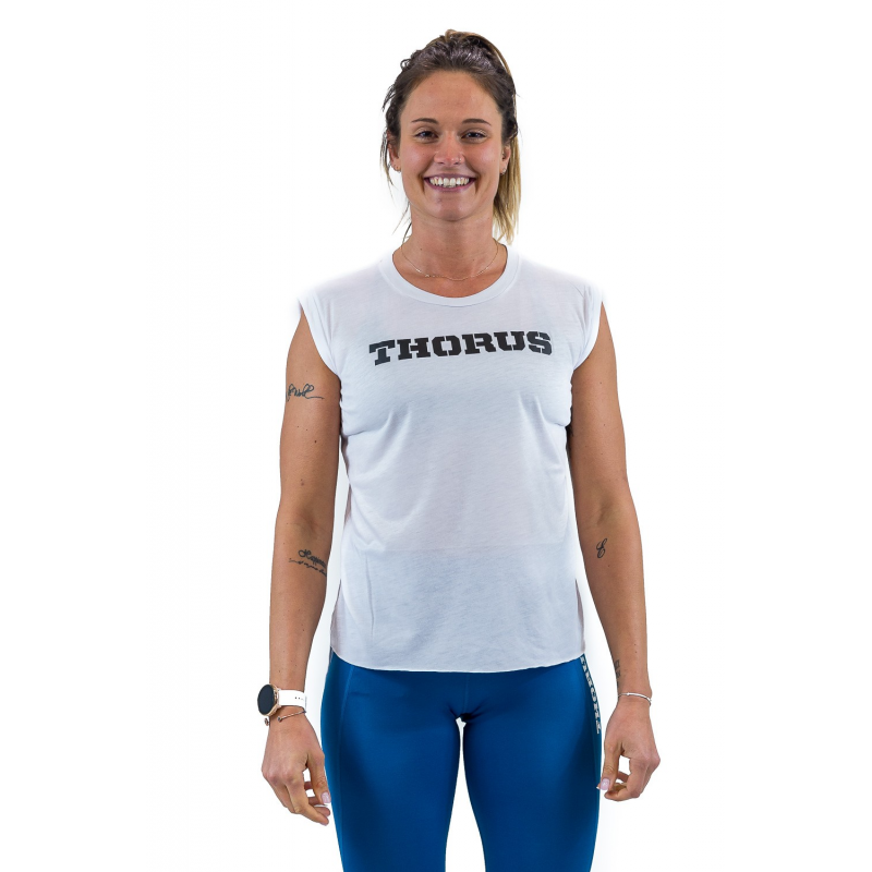 WHITE MUSCLE TSHIRT WOMEN WITH ROLLED