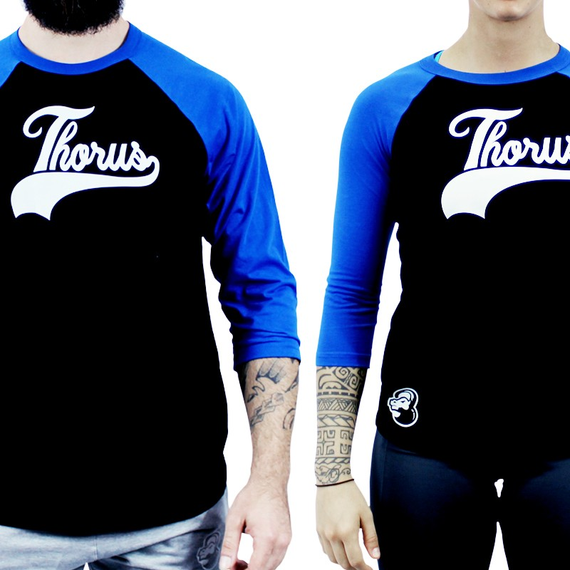 T SHIRT MANCHE 3/4 BASEBALL BLUE/BLACK UNISEX
